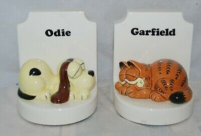 Vintage Enesco Garfield The Cat and Odie The Dog Ceramic Bookends Figurines