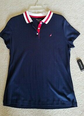 NEW Nautica Womens Classic Heritage Short Sleeve Polo Shirt, Navy/Red L
