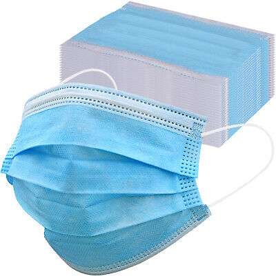 50/100 Face Mask Disposable 3-Ply Ear-loop Mouth Cover 3 Layer Filter Mask White