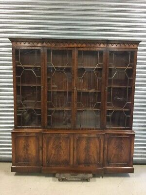 Bevan Funnell Mahogany Glazed Breakfront Library Bookcase