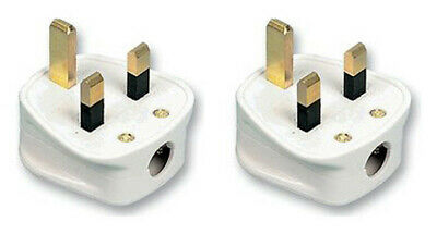 2 x Standard UK Fused 3A 3 Amp White Mains 3 Pin Household Plugs socket fuse