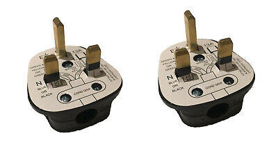 2 x Standard UK Fused 13A 13 Amp Black Mains 3 Pin Household Plugs socket fuse