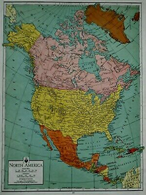 Great Vintage 1942 Atlas Map World War WWII North America And The World L@@K!