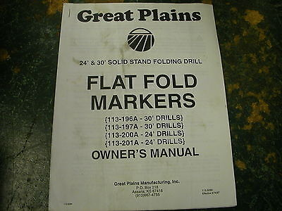 Great Plains Owner Manual 24' & 30' Solid Stand Folding Drill Flat Fold Markers
