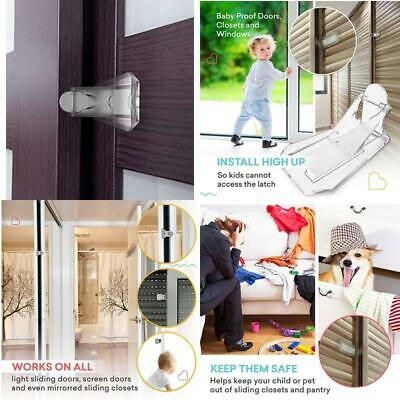 Sliding Door Lock for Child Safety (Clear, 4 Pack), Baby proofing Closets, Patio