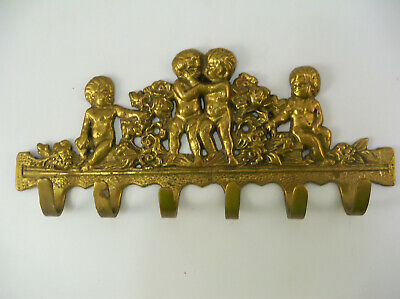 Brass Cherub Wall Hook Vintage Antique Angel Ornate Victorian Key Rack Holder