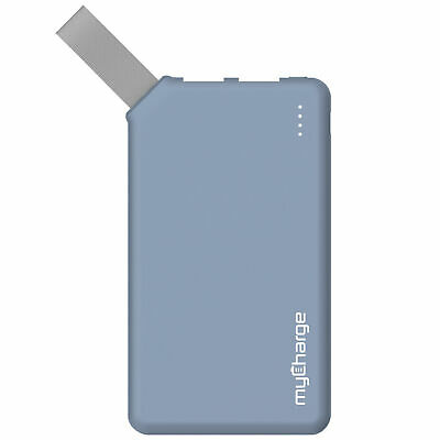myCharge Go Big Powerbank with Fabric Loop 6000mAh Blue Batteries and Portable
