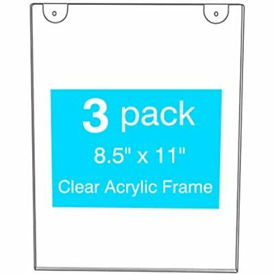Clear Sign Holder 8.5x11 Acrylic Poster Top Grade Wall Mount, With Screw And 3M