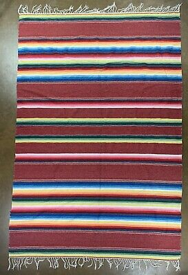 "7.5'x5' Vtg Mexican Saltillo Serape Blanket 4"" Fringe Striped"