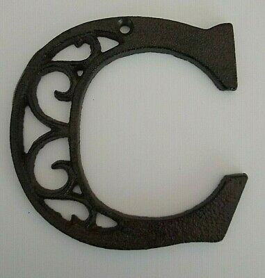 "Alphabet House Letters C Antique Brown Cast Iron Metal Large 4.5"" Indoor Outdoor"