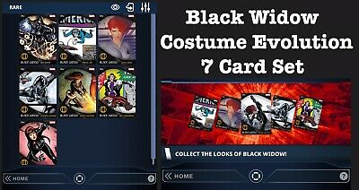 Black Widow Modern Costume Evolution 7 Card Set-Topps Marvel Collect Digital