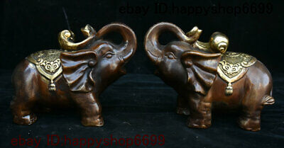 Collect China Dynasty Bronze Gilt Fengshui Animal Elephant Heffalump Statue Pair