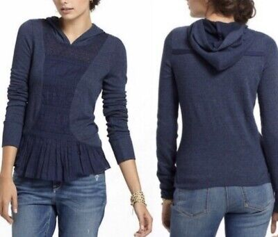 E by Eloise Anthropologie $75 Navy Blue Ruffle Sweatshirt Pullover hooded  XS