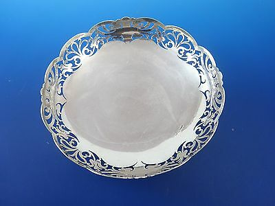 English Sterling Silver Bowl with Cut Out Pierced Design on Edge  (#2933)