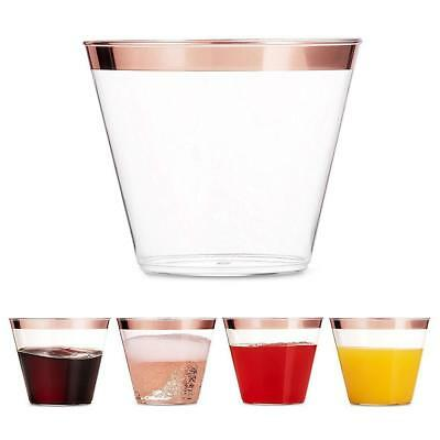 Disposable Plastic Cups Clear Reusable Drinking Water Cup Party 9/12Oz Bulk