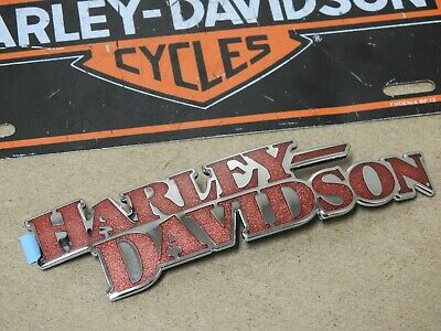 NEW Harley Davidson RED & CHROME Tank Emblem Softail Dyna Right