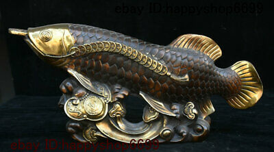 Collect Chinese Bronze Gilt Fengshui Animal Golden Dragon Fish Ruyi Coins Statue