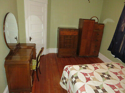 Depression Era Modern Art Deco Waterfall Full Size Bedroom Set Vintage