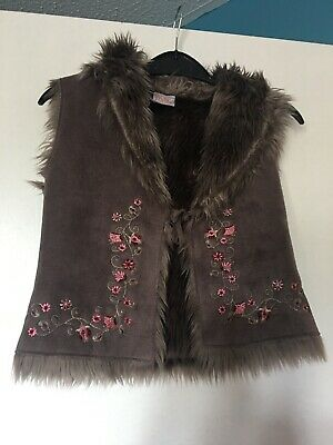 Girl 2 Girl Faux Fur Gillet Brown Floral Embroderd  3-4 Years