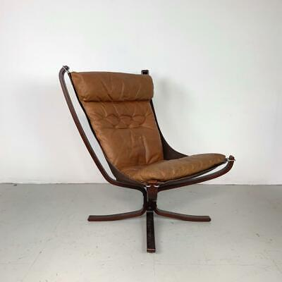 Vintage Brown Leather Falcon Chair By Sigurd Resell Ressell High Back #2924