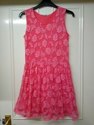 Pretty Girls Tammy Bhs Coral Lace Summer Dress Age 12-13