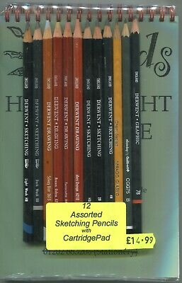 """A set of 12 """" DERWENT SKETCHING  PENCILS """" with an A5 Cartridge Pad ."""
