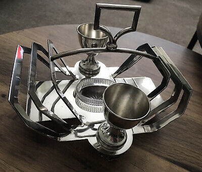 Antique Silver Plated Egg Cup And Toast Rack Set With Glass Salt