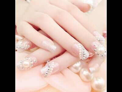 24 False Nails  With Crystals Ideal For Wedding/promUK SELLER🇬🇧🇬🇧🇬🇧💅