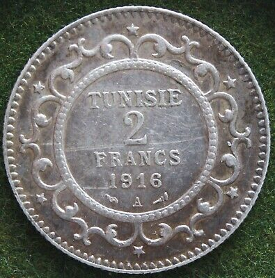 Tunisia 2 Francs 1916 A Sterling Silver