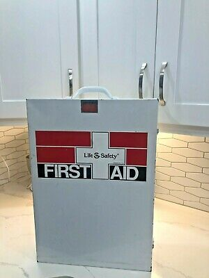 Vintage Heavy Duty Life + Safety White Red Metal First Aid Box Kit w/Contents