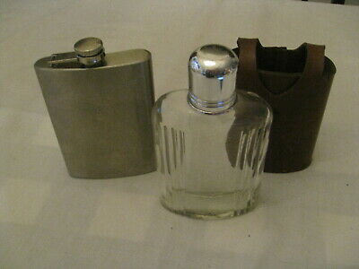 Pocket Hip Flask tainless 8 oz no funnel and Irwinware Leather Glass Flask USA