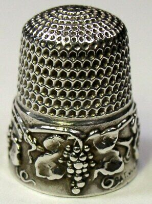 """Antique Simons Bros. Sterling Silver Thimble  """"Grape""""  Design  Dated 1907"""