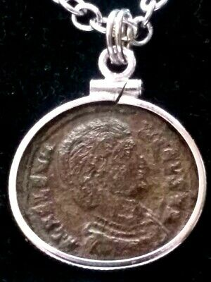 Saint Helena Genuine Ancient Roman Coin Sterling Silver Bezel Pendant Necklace