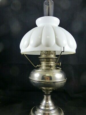 Antique Nickle over Brass Rayo Oil Lamp with Milk Glass Shade