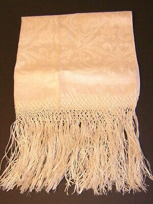 VICTORIAN DAMASK LINEN TOWEL with FRINGE - New Old Stock w/tag