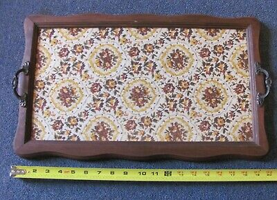 Antique Serving TRAY Glass Top Covering Fabric Metal Handles Wood Frame