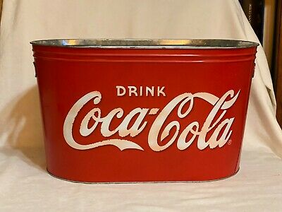 Coke Coca-Cola Oblong Galvanized Metal Painted Ice Bucket Tub Tote