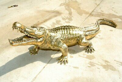"""23"""" inches long Stunning solid hollow heavy brass CROCODILE statue polished"""