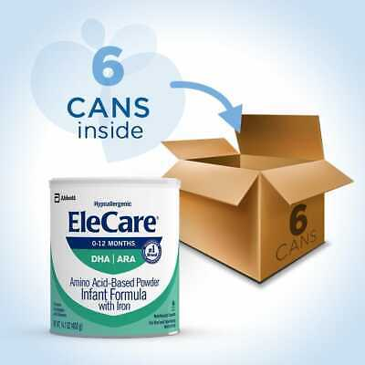 Case of 6 14.1oz cans of EleCare For Infants Hypoallergenic Powder with DHA/ARA!