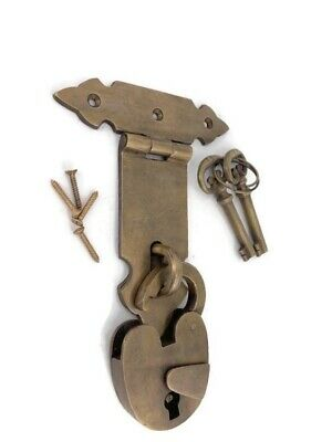 "large old latch vintage style BOX & padlock keys catch hasp DOOR heavy 5"" BRASS"