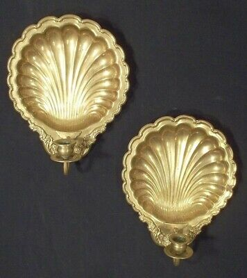 Pair Of Mid Century Classical Regency Shell Back Brass Sconces