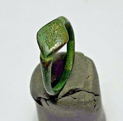 PERFECT ANCIENT JEWISH BRONZE RING ONE OF BARLEY 18,2mm inner 2,3gr