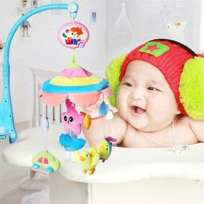 Musical Crib Mobile Bed Bell Baby Rattle Hanging Rotating Bracket Project Toys