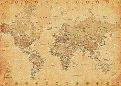 101551 World Map Antique Vintage Globe Atlas Giant Decor LAMINATED POSTER CA