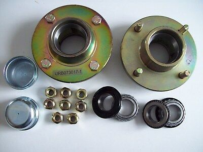 2 trailer hubs 4 stud 4 inch pcd with bearings  Camping Jetsky etc FREE P&P