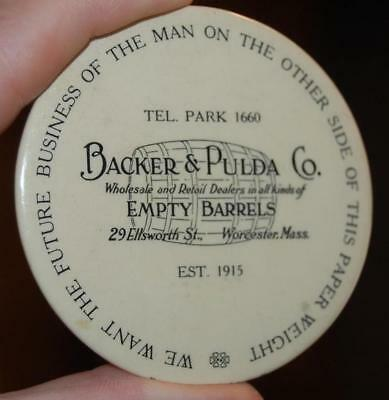 RARE Backer &  Pulda Barrels MA. advertising Celluloid Paperweight Pocket Mirror