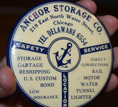 Antique Anchor Storage Advertising Celluloid Paperweight Pocket Mirror Chicago