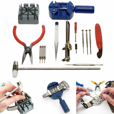 16 pcs Watch Repair Tool Kit Band Strap Link Remover Back Opener Wrist Strap Fix