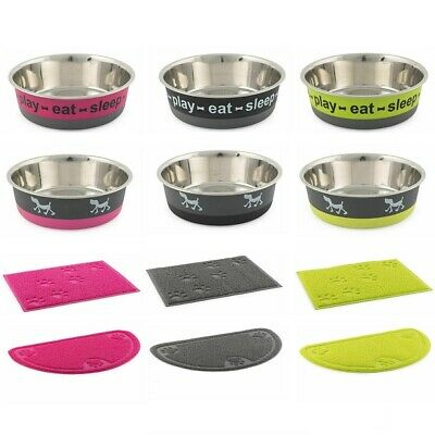Ancol Fusion Dog Bowl Stainless Steel Puppy Food & Water Dish or PVC Feeding Mat