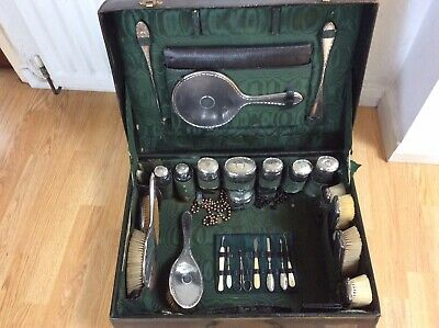 Antique Victorian Travel Vanity Grooming Case With Silver Accessories